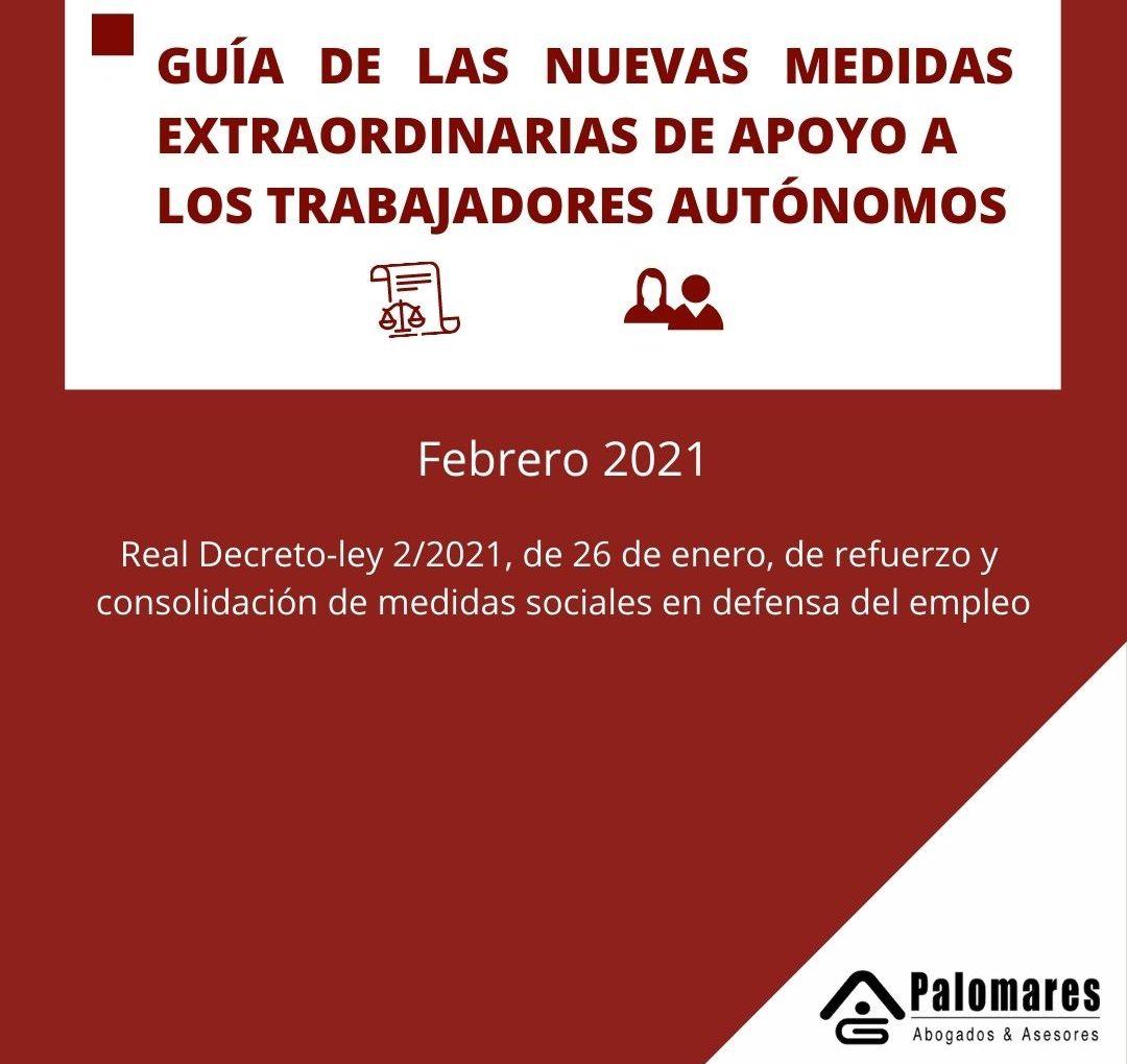 GUÍA DE LAS NUEVAS MEDIDAS EXTRAORDINARIAS DE APOYO A LOS TRABAJADORES AUTÓNOMOS